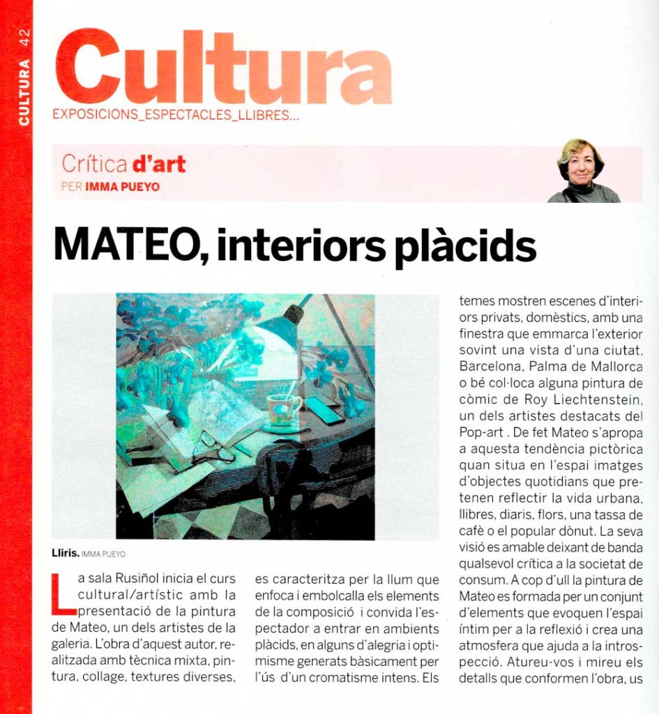 Els mitjans de comunicació parlen de l'exposició de Mateo.